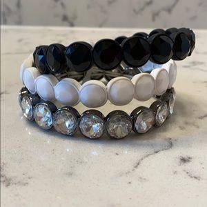 ✨NWT INC Black, White & Silver Bracelets. Set of 3